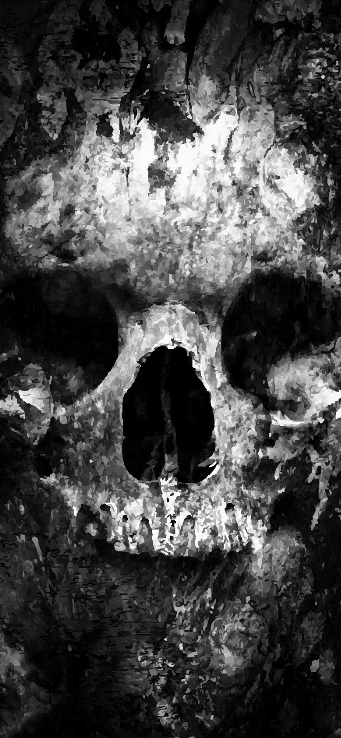 iPhoneXpapers.com-Apple-iPhone-wallpaper-au44-skull-face-ark-paint-illustration-art-bw-dark