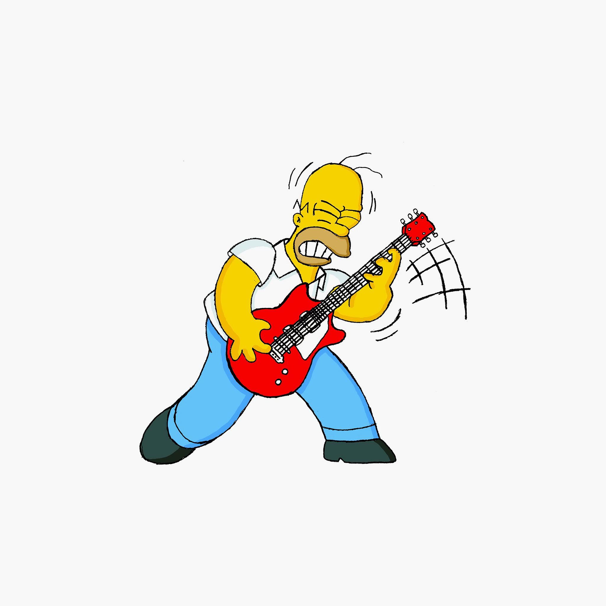 Au45 homer simpson guitar cartoon illustration art wallpaper - Guitare simpson ...