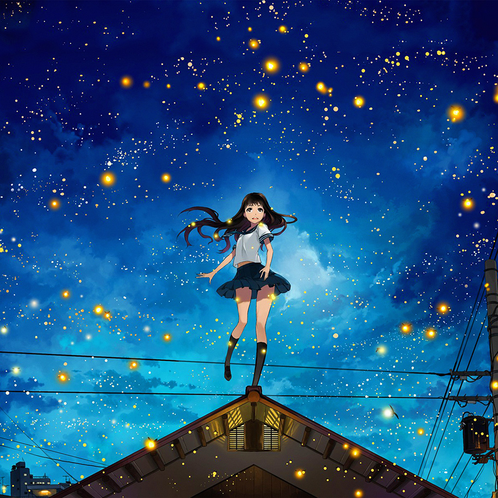 wallpaper-au46-girl-anime-star-space-night-illustration-art-wallpaper