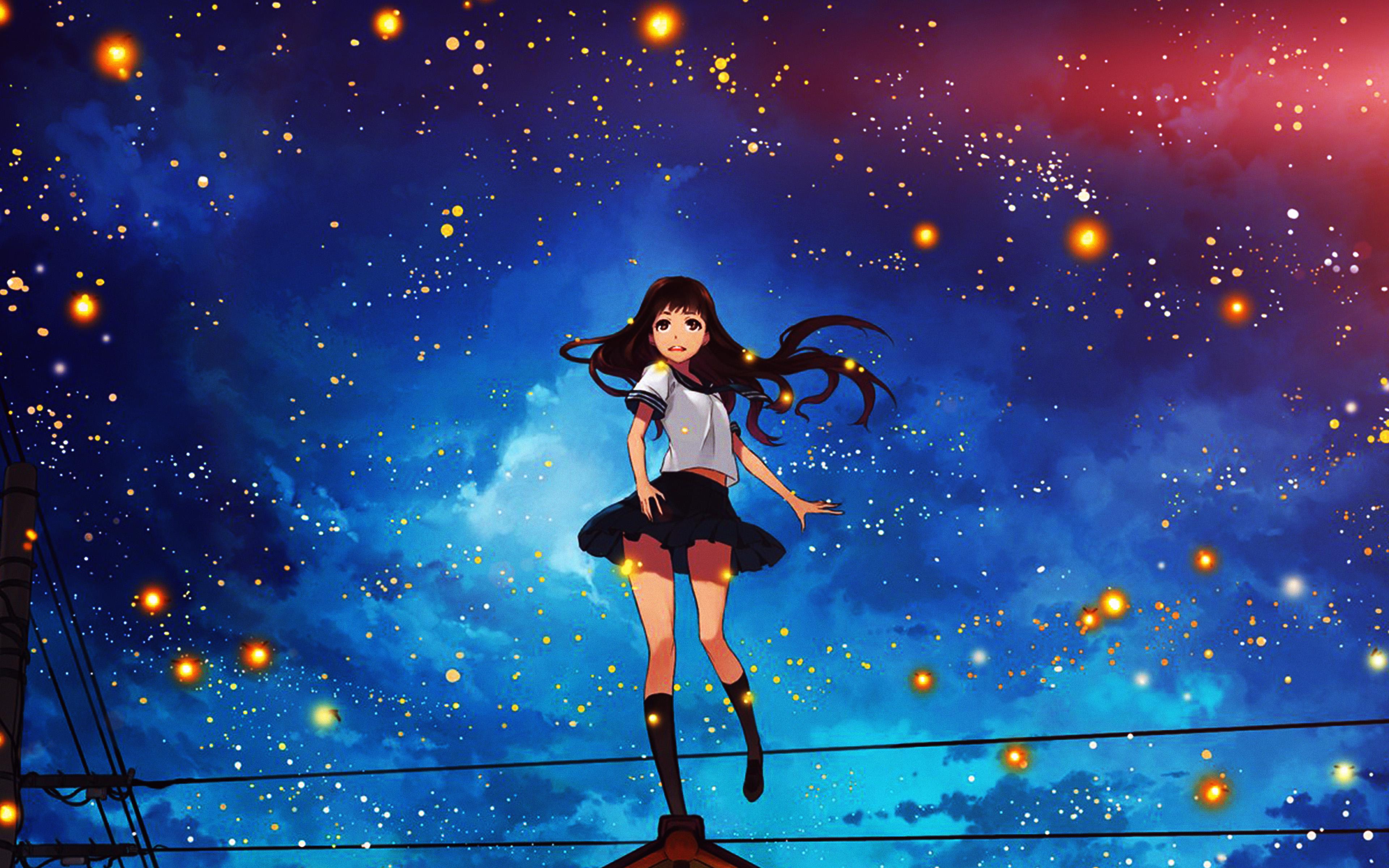 au47-girl-anime-star-space-night-illustration-art-flare-wallpaper