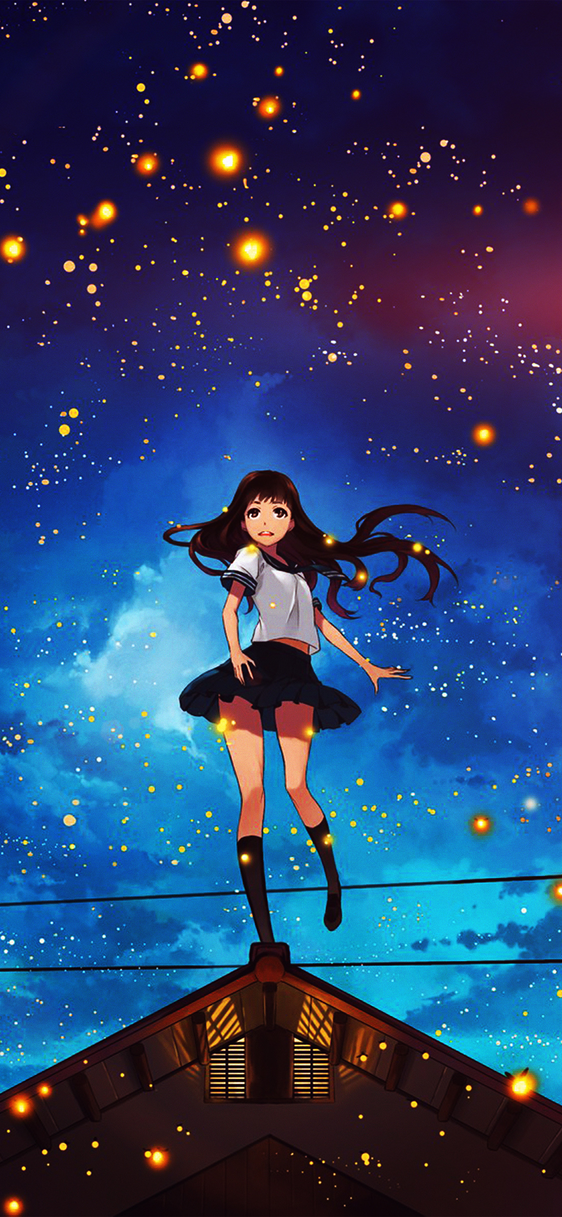 iPhoneXpapers.com-Apple-iPhone-wallpaper-au47-girl-anime-star-space-night-illustration-art-flare
