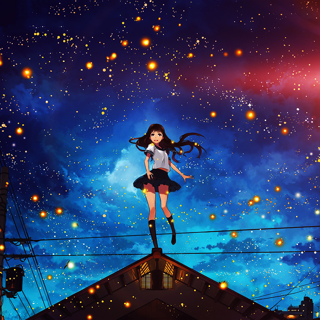 wallpaper-au47-girl-anime-star-space-night-illustration-art-flare-wallpaper