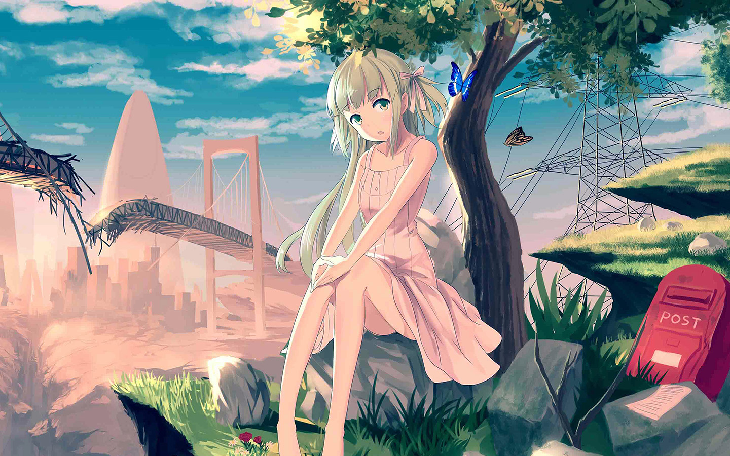 Au48 Cute Anime Girl Sunset Illustration Art Wallpaper