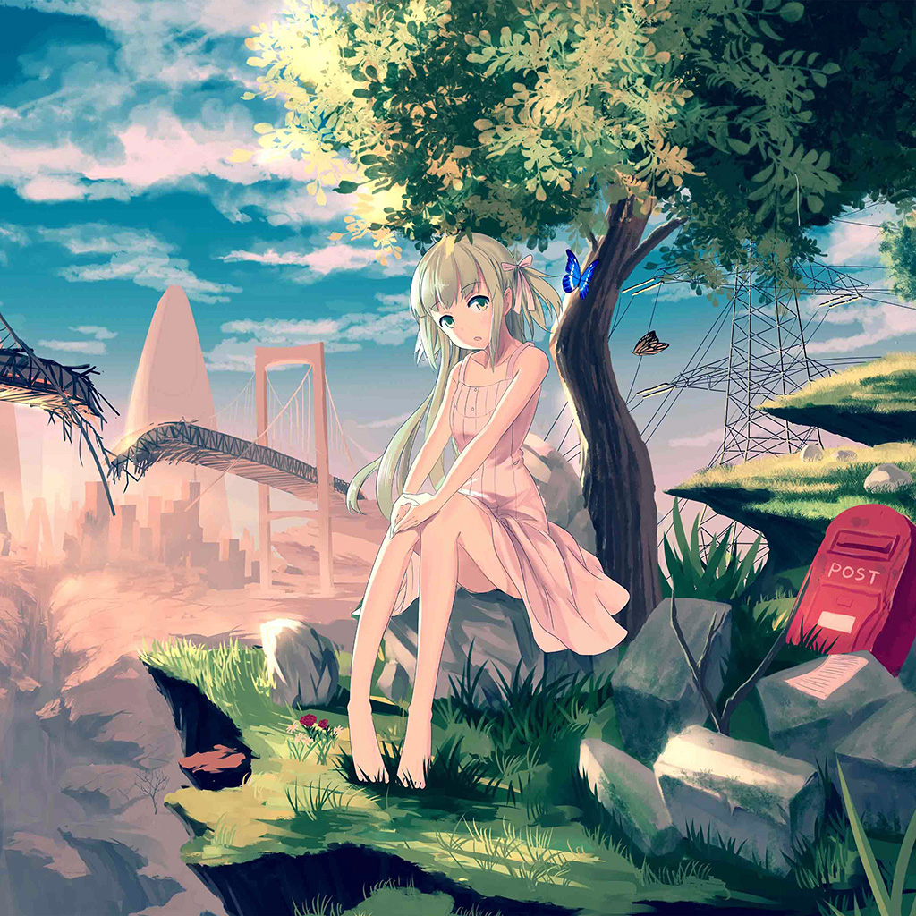 android-wallpaper-au48-cute-anime-girl-sunset-illustration-art-wallpaper