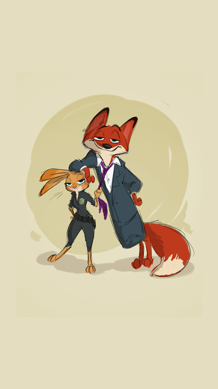 iPhonepapers.com-Apple-iPhone8-wallpaper-au54-zootopia-cute-animal-disney-judy-nick-illustration-art