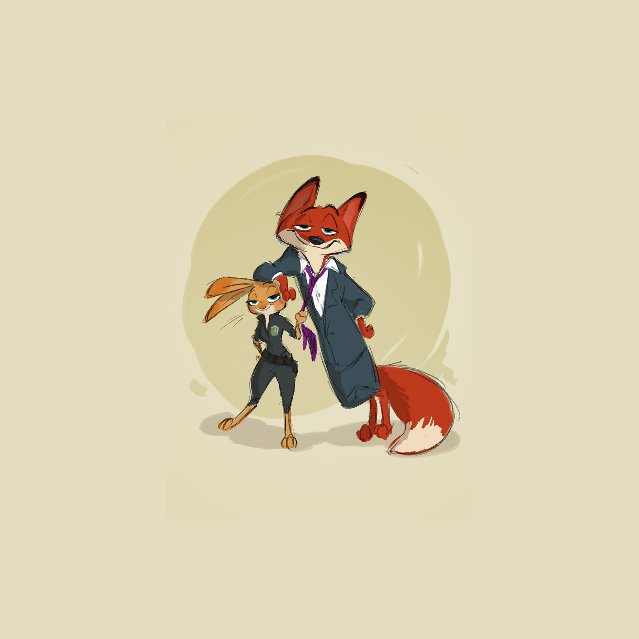 Au54 Zootopia Cute Animal Disney Judy Nick Illustration Art Wallpaper