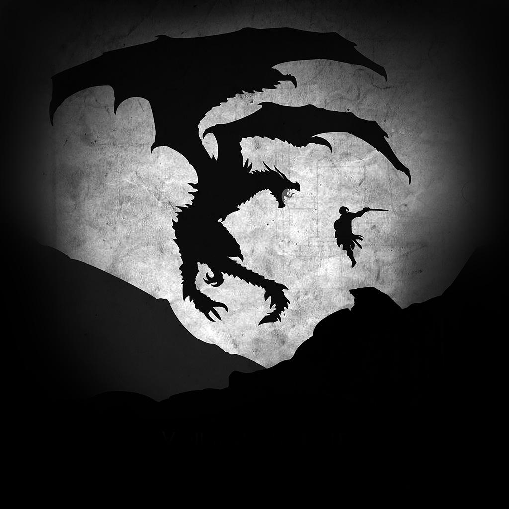 wallpaper-au58-skyrim-dragon-illustration-art-bw-wallpaper