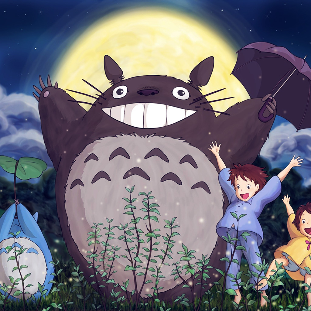wallpaper-au60-totoro-forest-anime-cute-illustration-art-blue-wallpaper