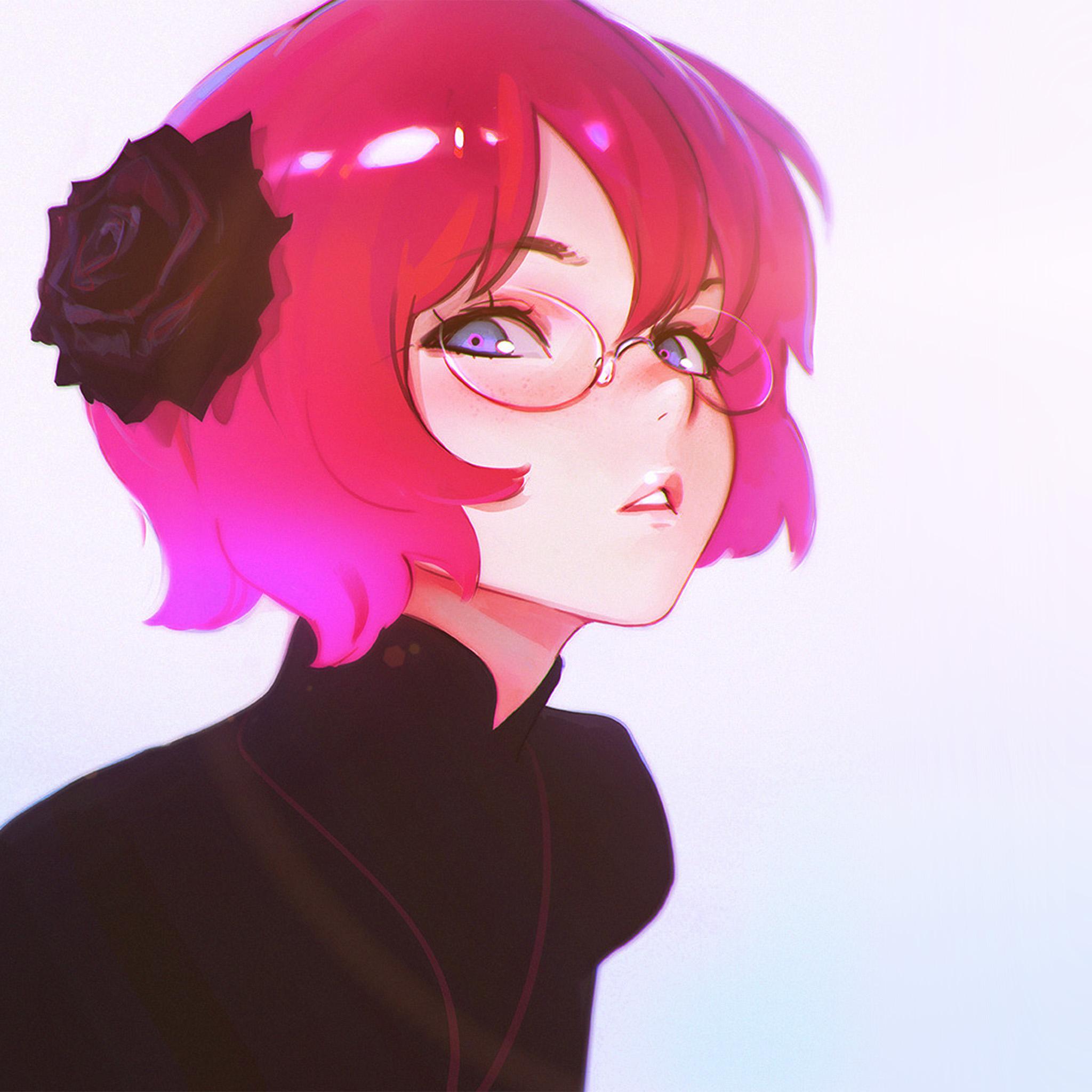 Pink Iphone: Av00-ilya-kuvshinov-girl-cute-pink-illustration-art-flare