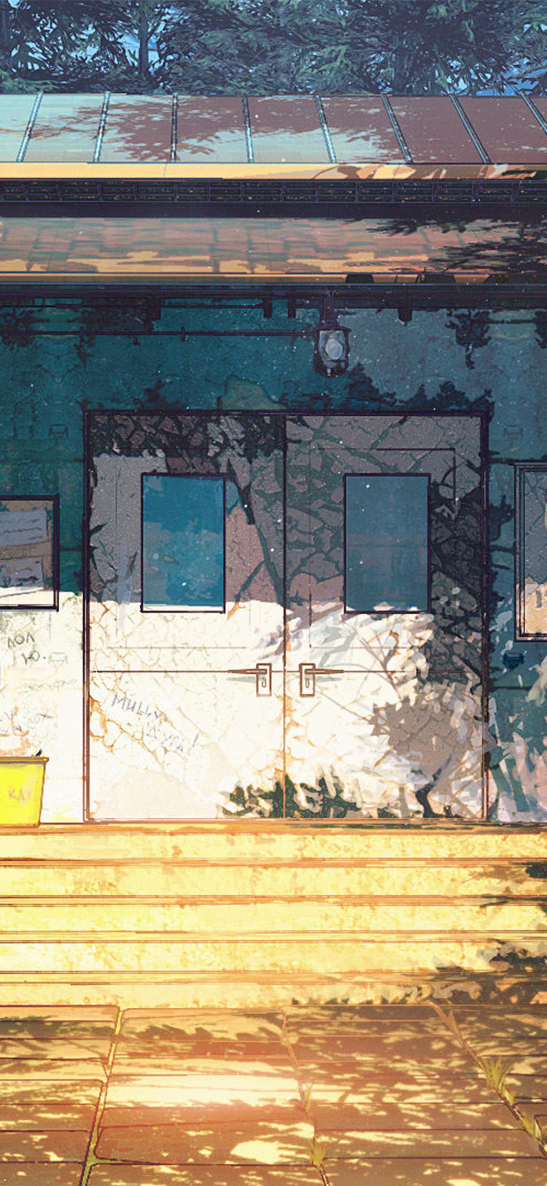 iPhoneXpapers.com-Apple-iPhone-wallpaper-av21-camp-wood-house-anime-illustration-art-arseniy-chebynkin
