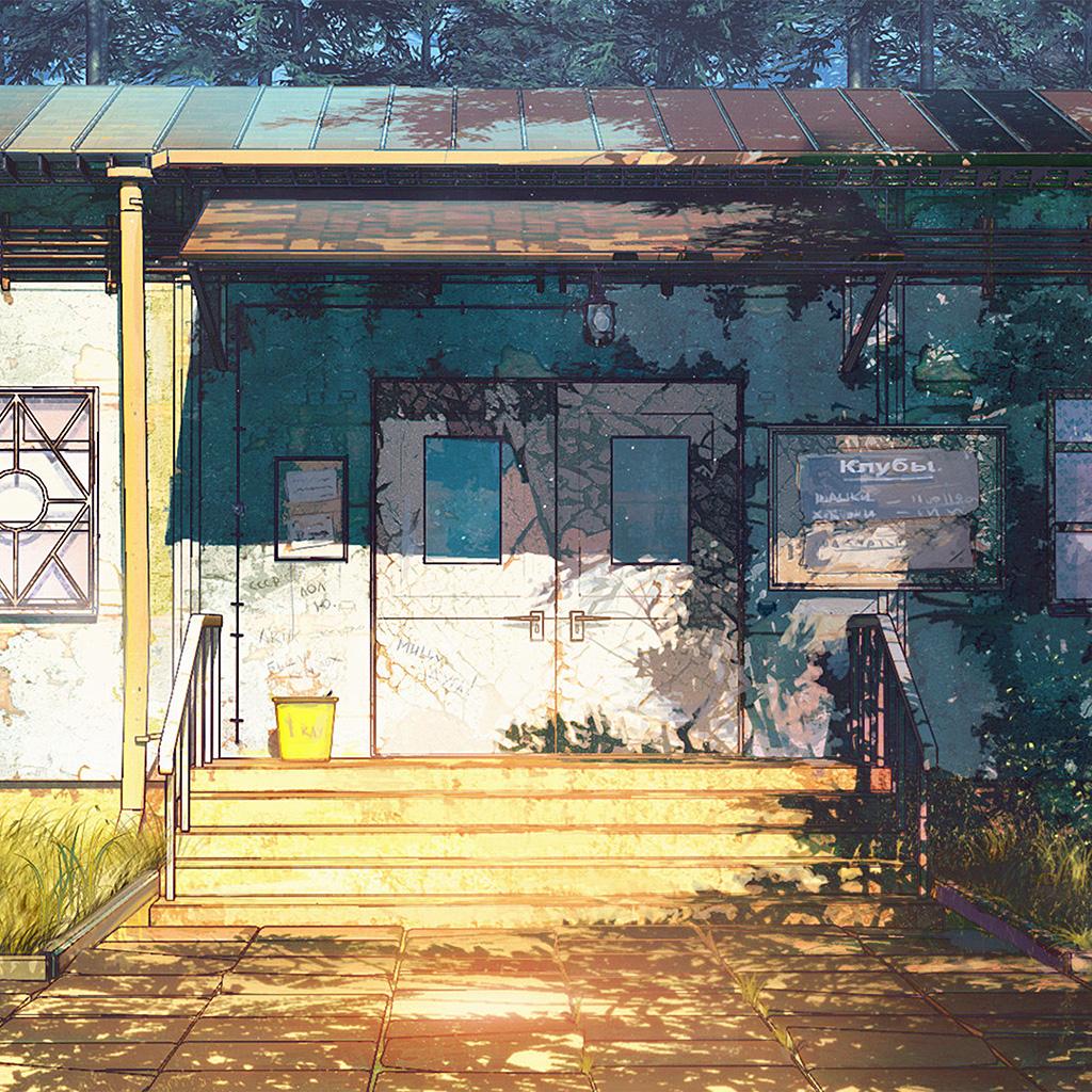 android-wallpaper-av21-camp-wood-house-anime-illustration-art-arseniy-chebynkin-wallpaper