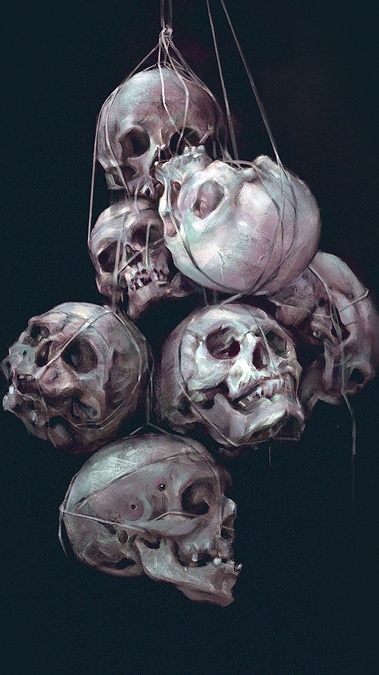 iPhone7papers.com-Apple-iPhone7-iphone7plus-wallpaper-av25-paint-skull-green-dark-yanjun-cheng-illustration-art