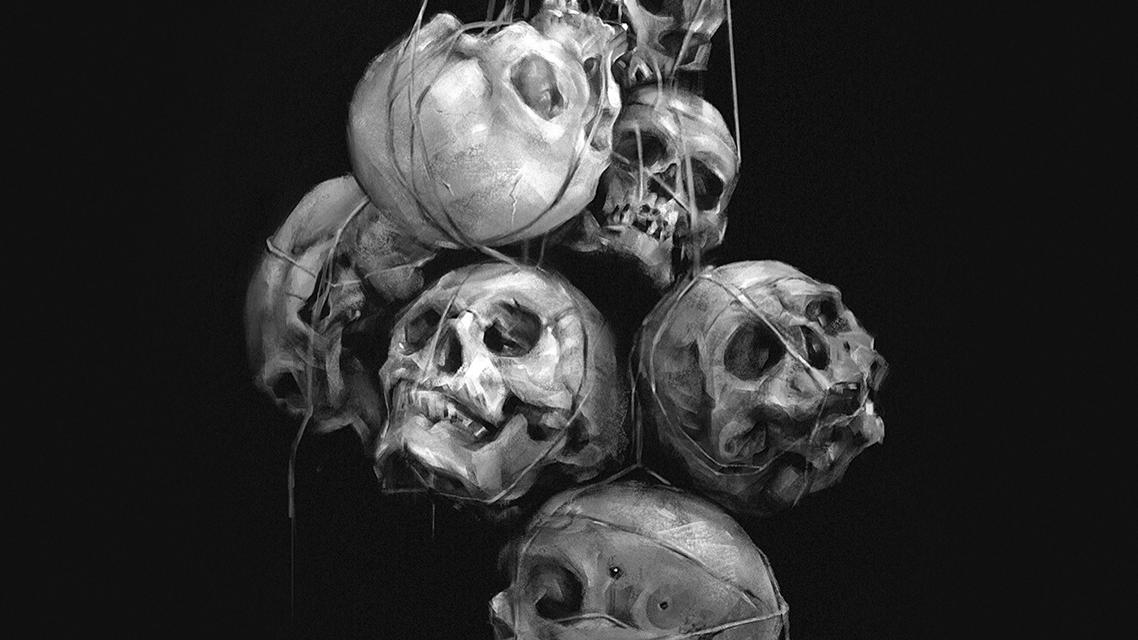 Av26 Paint Skull Dark Yanjun Cheng Illustration Art Bw
