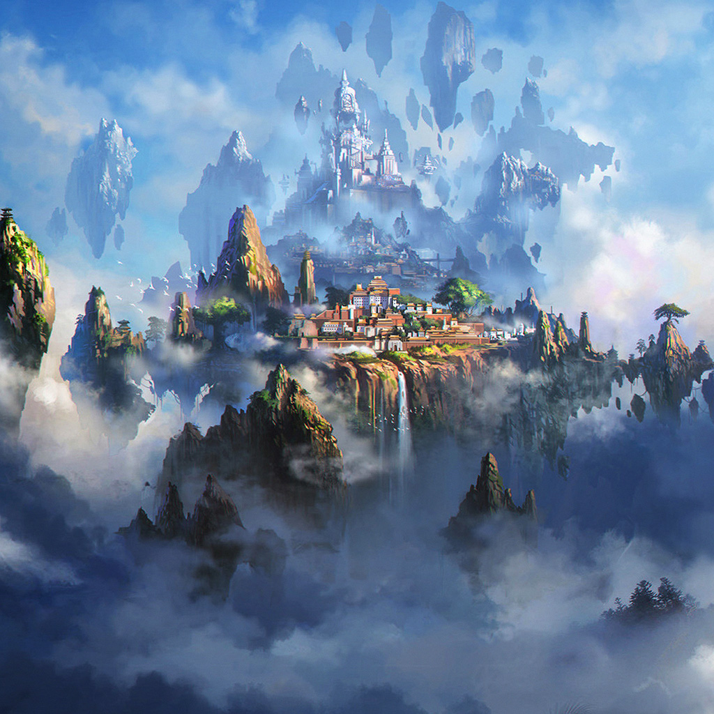 android-wallpaper-av35-cloud-town-fantasy-anime-liang-xing-illustration-art-wallpaper