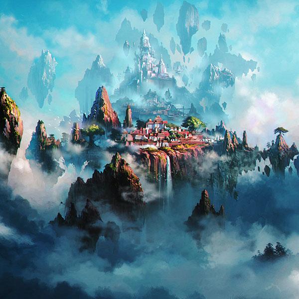 iPapers.co-Apple-iPhone-iPad-Macbook-iMac-wallpaper-av36-cloud-town-fantasy-anime-liang-xing-illustration-art-green-wallpaper