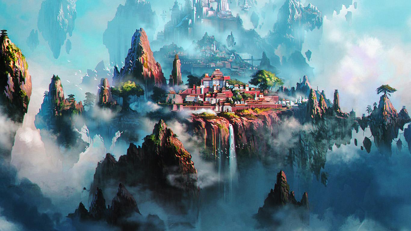 Wallpaper For Desktop Laptop Av36 Cloud Town Fantasy Anime Liang Xing Illustration Art Green
