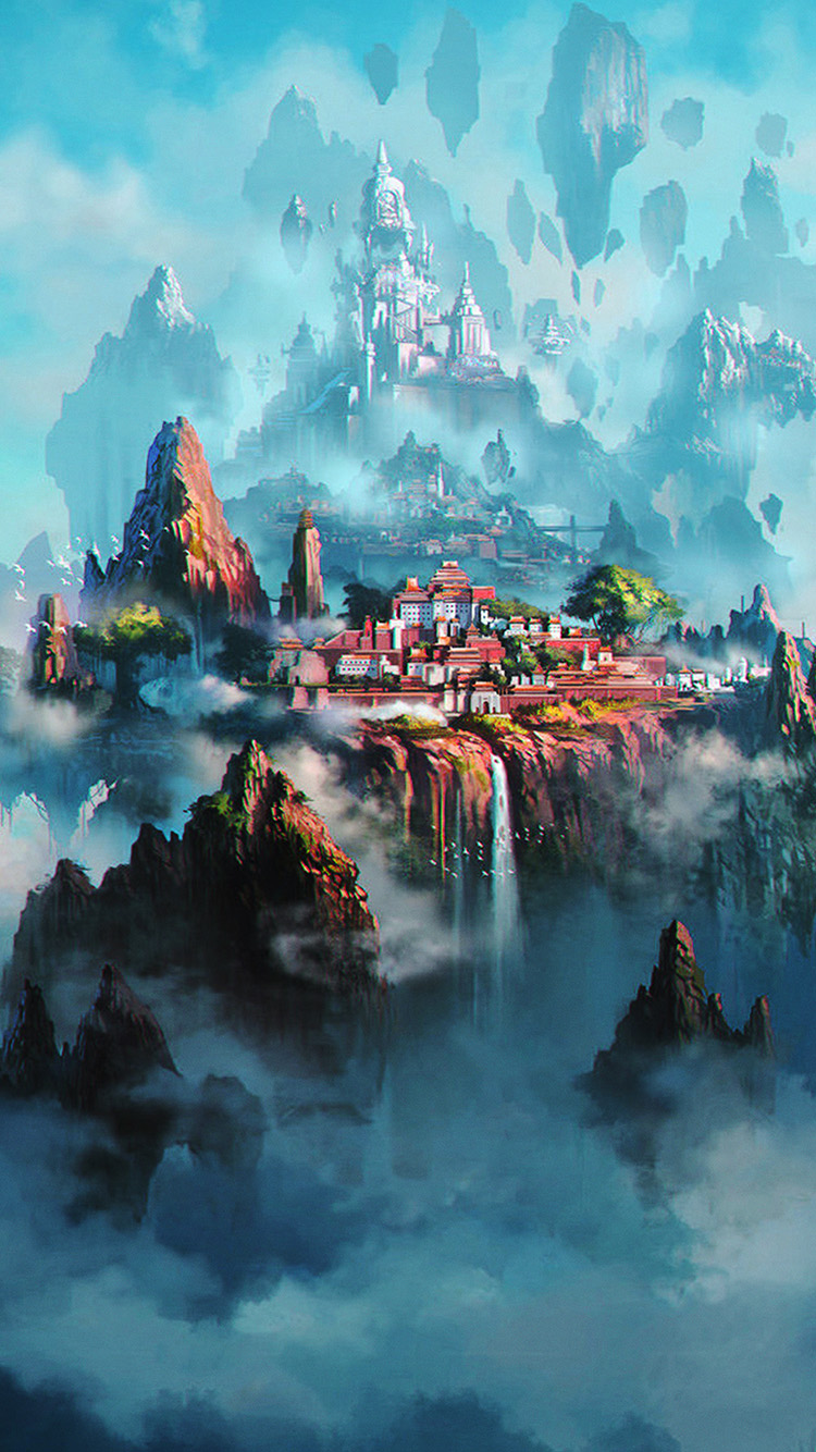 iPhone7papers.com-Apple-iPhone7-iphone7plus-wallpaper-av36-cloud-town-fantasy-anime-liang-xing-illustration-art-green