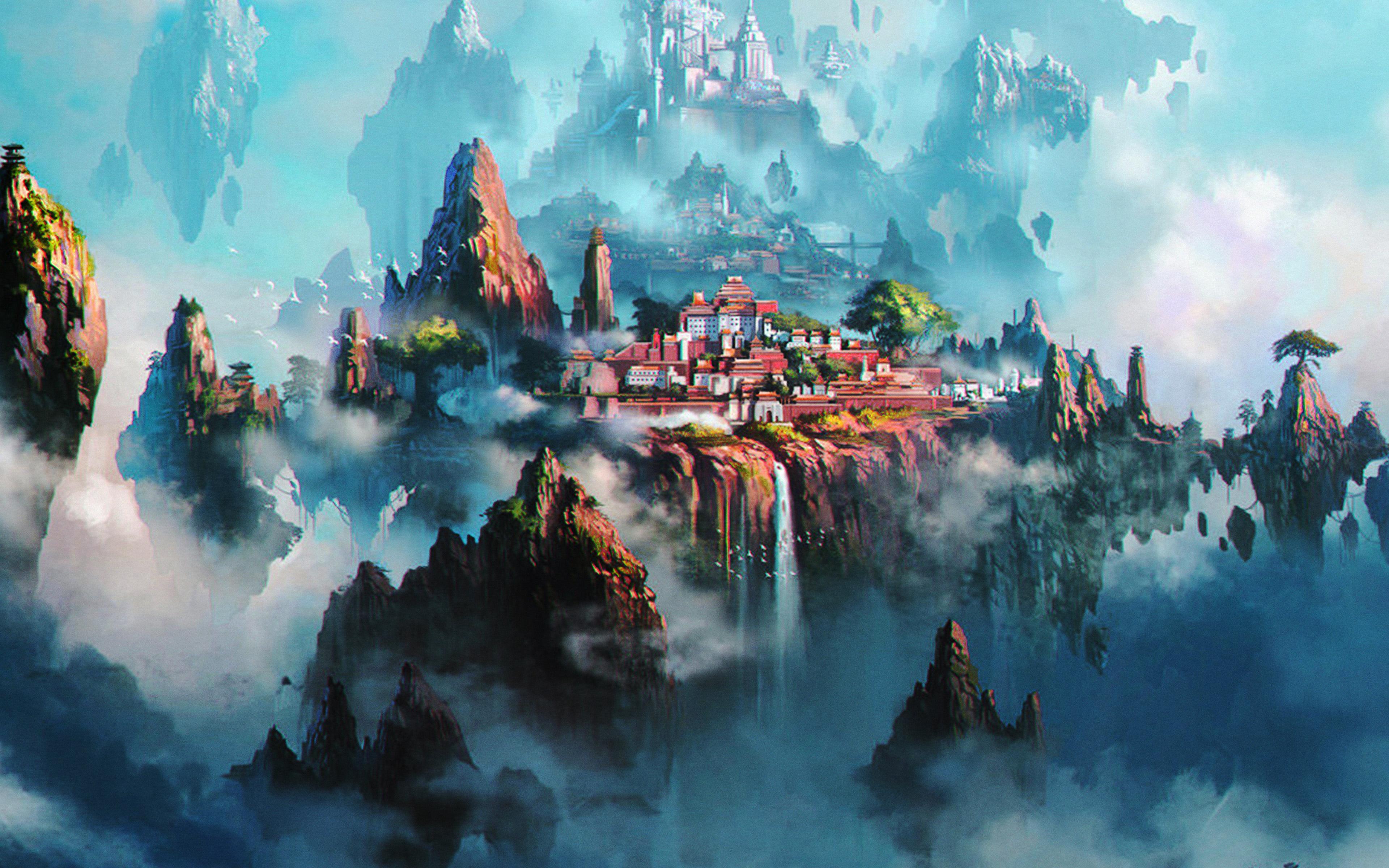 Av36 Cloud Town Fantasy Anime Liang Xing Illustration Art Green Wallpaper