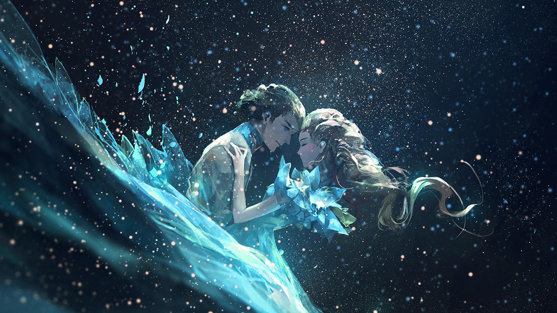 Av44 Anime Kiss Love Green Girl Boy Illustration Art Wallpaper
