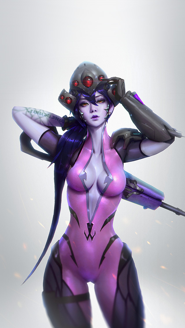 freeios8.com-iphone-4-5-6-plus-ipad-ios8-av46-overwatch-widowmaker-paul-kwon-illustration-art