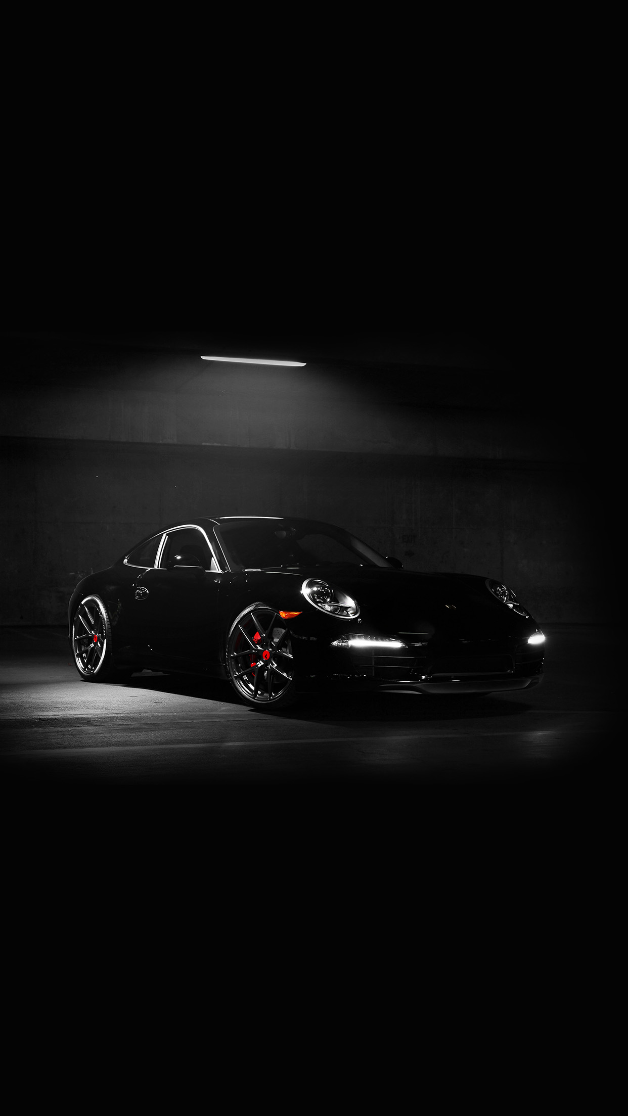 Av48 Porsche Illustration Art Super Car Black Dark Wallpaper