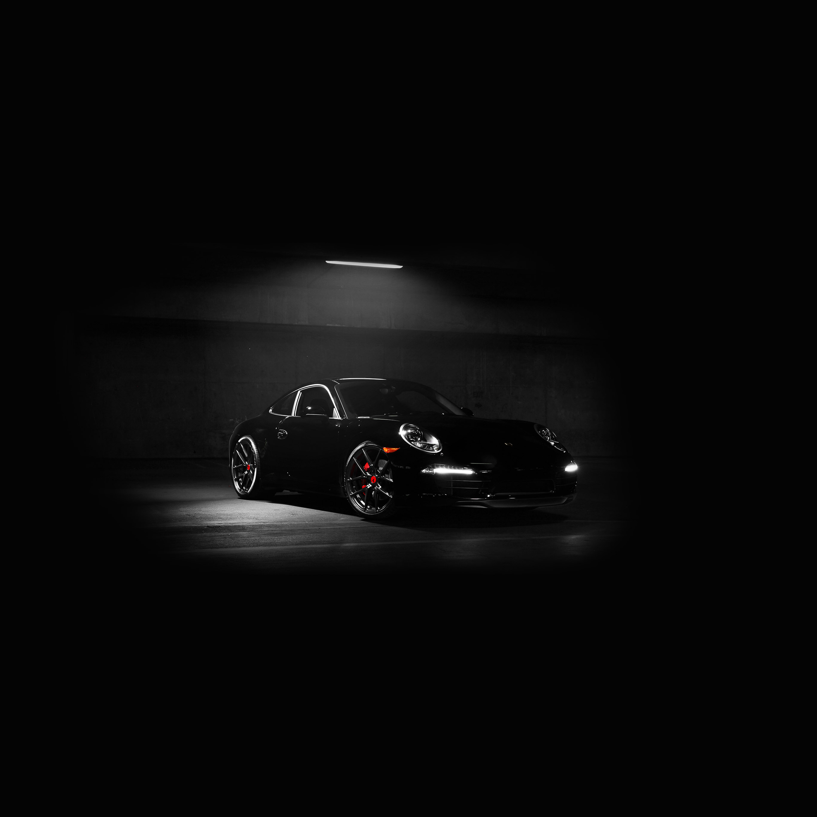 Av48 Porsche Illustration Art Super Car Black Dark Wallpaper