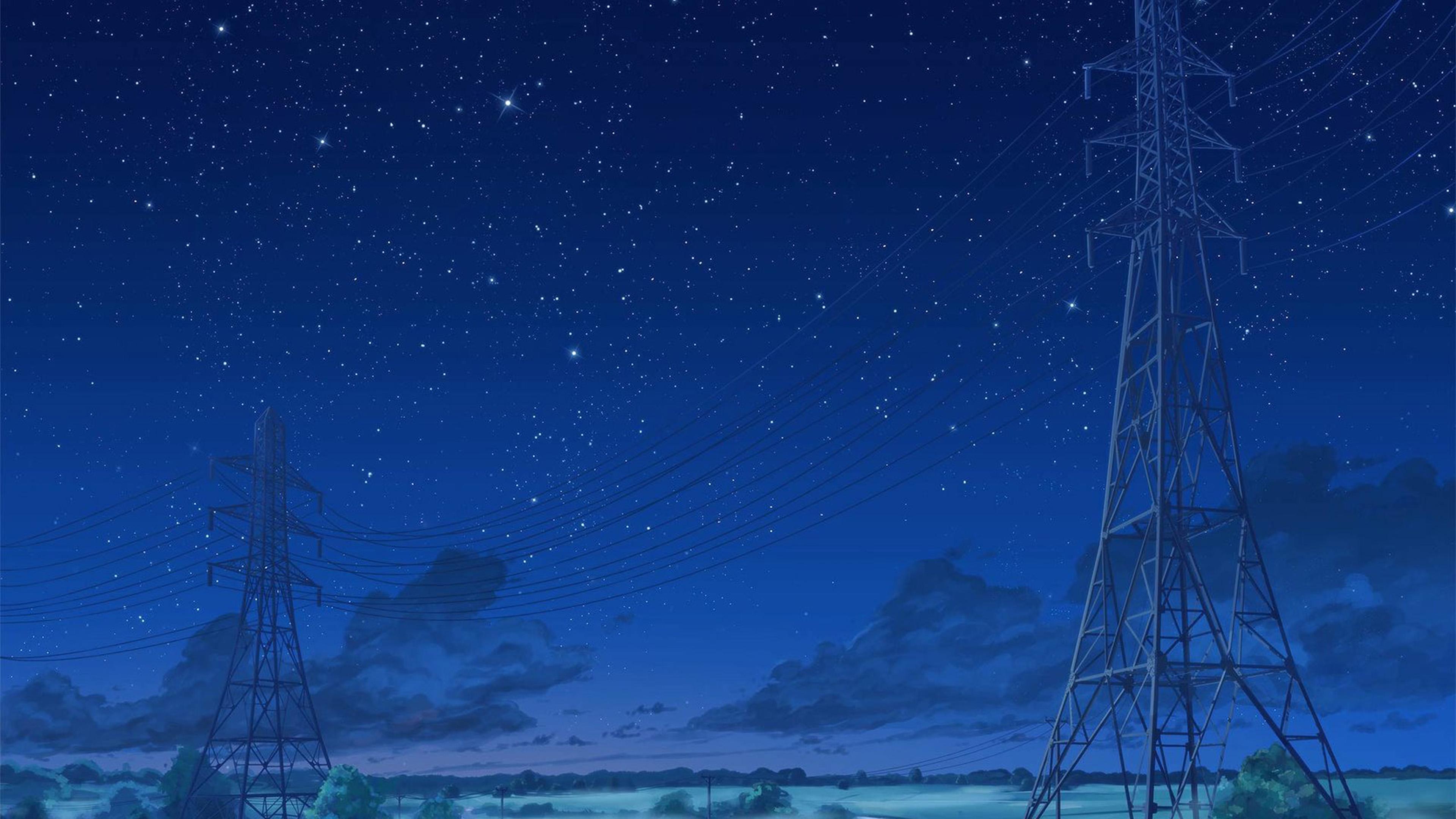 Aw15 Arseniy Chebynkin Night Sky Star Blue Illustration Art Anime Wallpaper