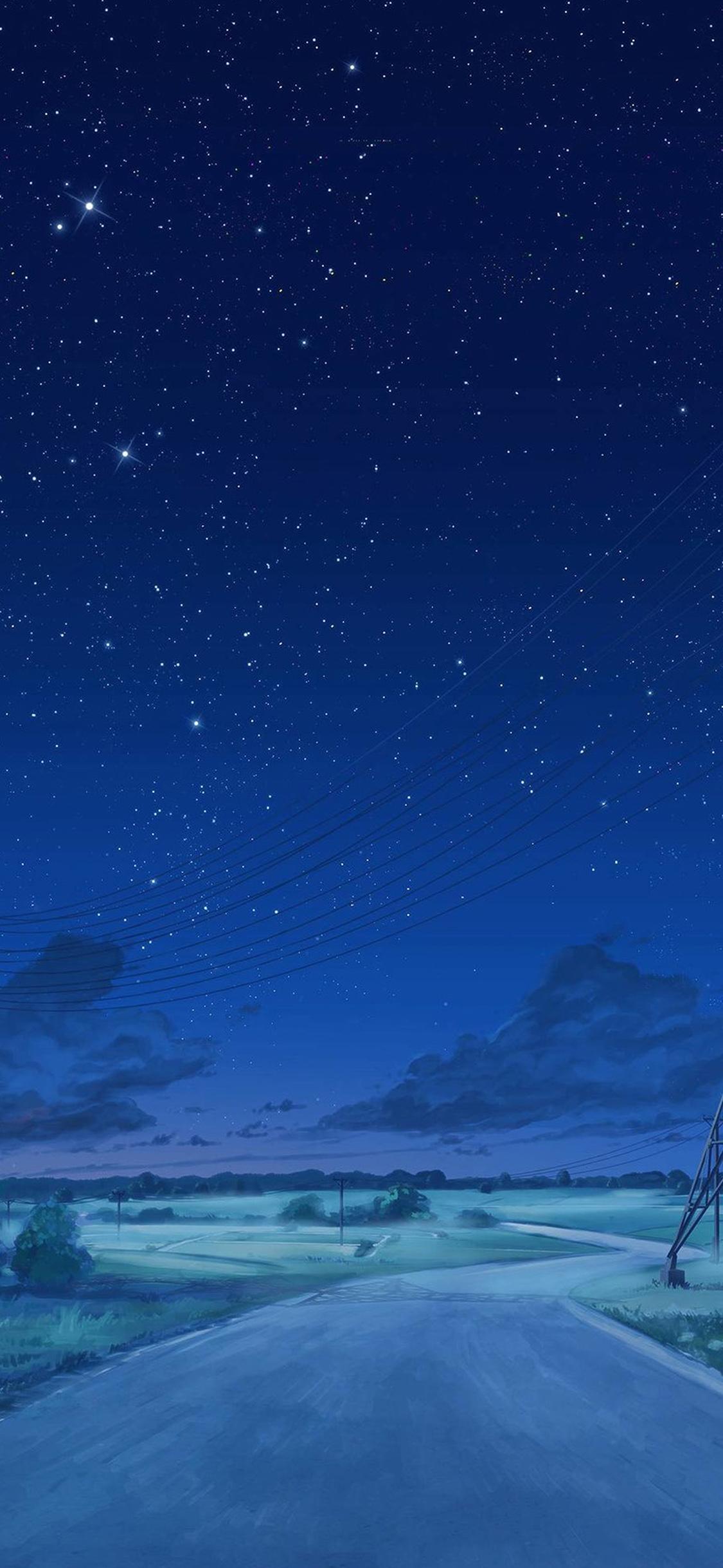 Aw15 Arseniy Chebynkin Night Sky Star Blue Illustration Art Anime
