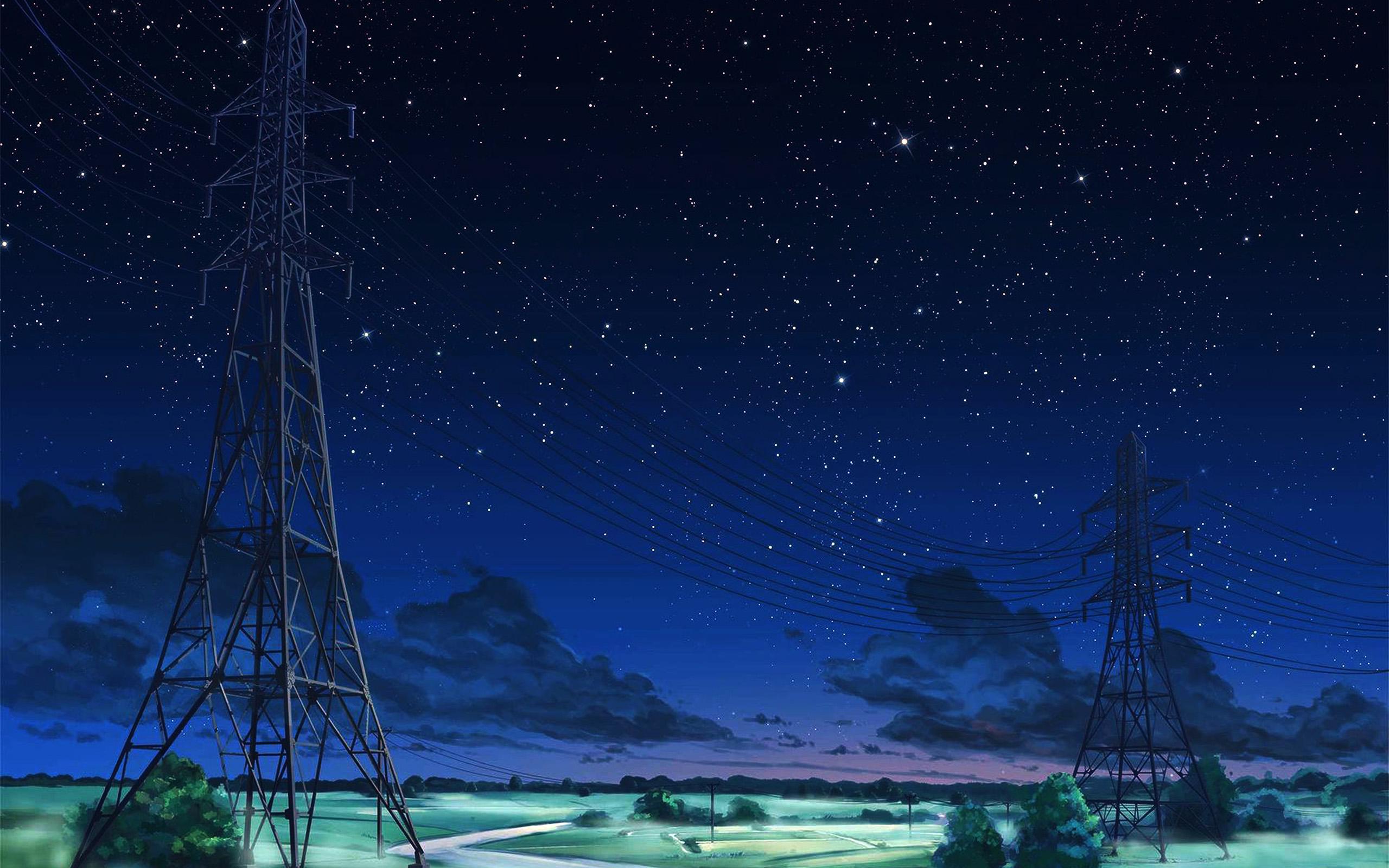 Wallpaper For Desktop Laptop Aw16 Arseniy Chebynkin Night Sky Star Blue Illustration Art Anime Dark