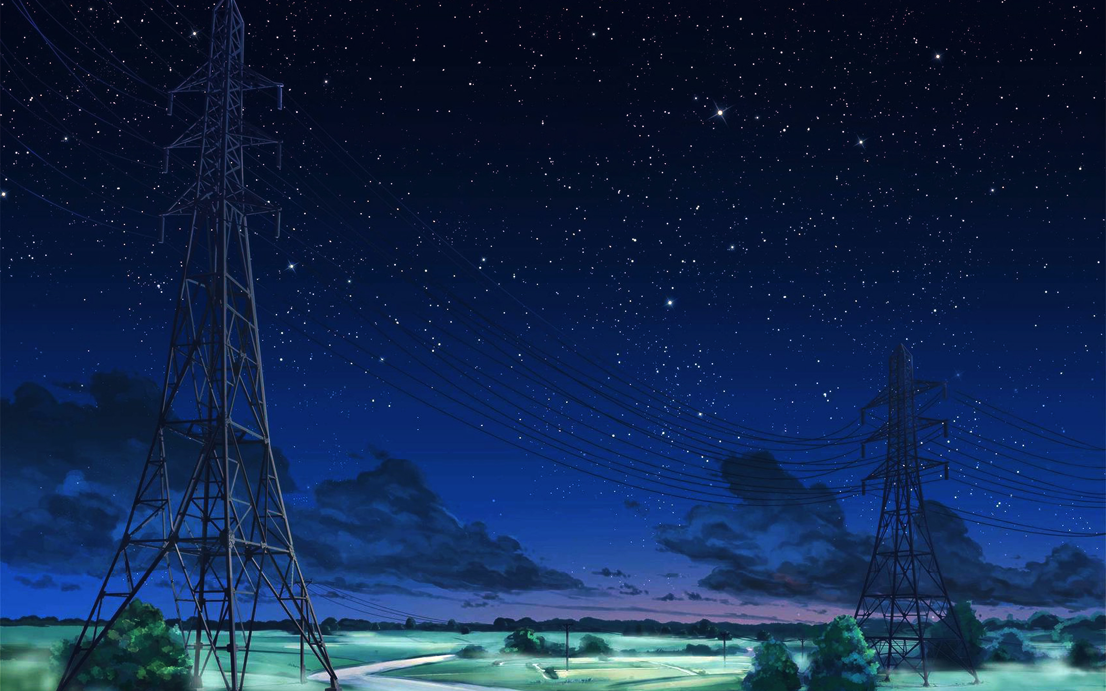 Aw16 Arseniy Chebynkin Night Sky Star Blue Illustration Art Anime Dark Wallpaper