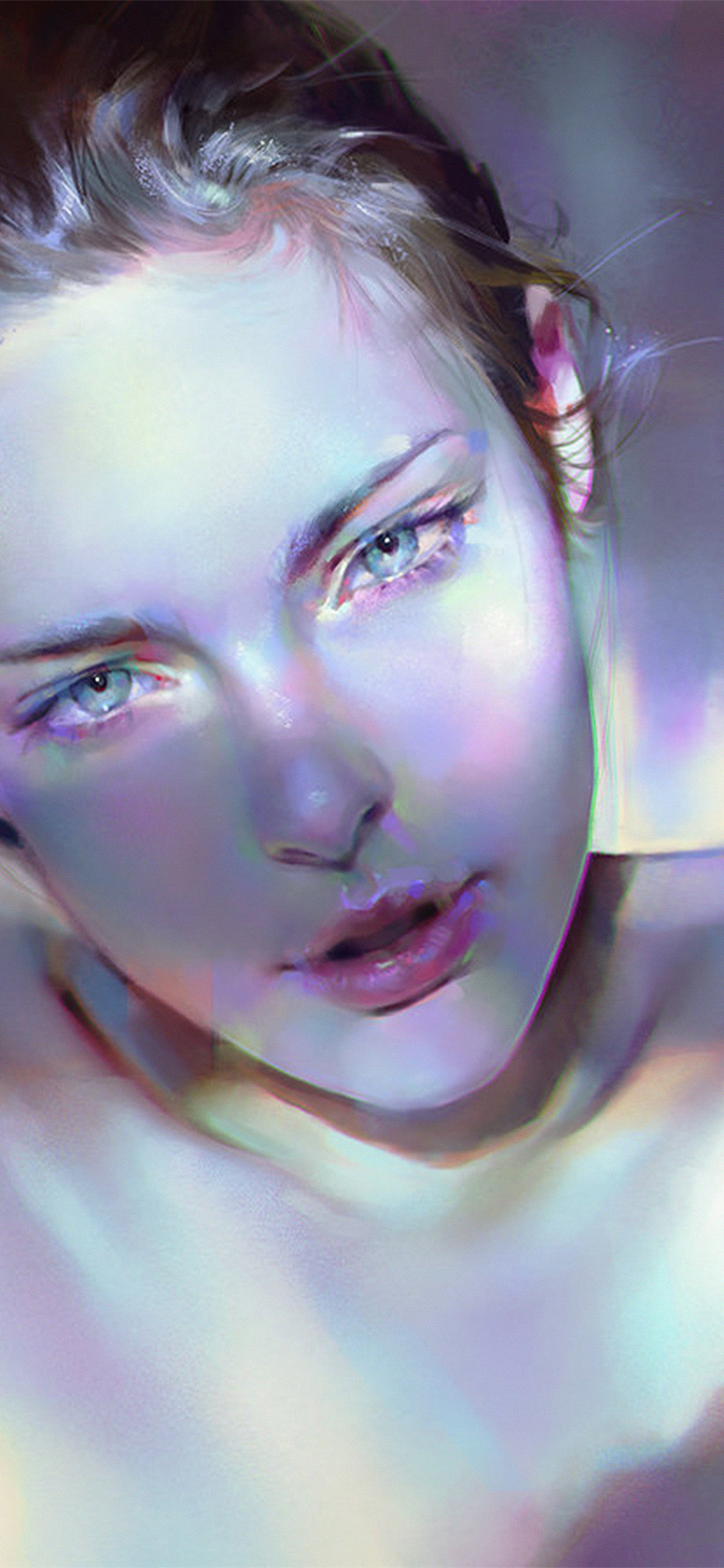 iPhoneXpapers.com-Apple-iPhone-wallpaper-aw19-girl-blue-face-sexy-paint-anime-illustration-art-yanjun-cheng