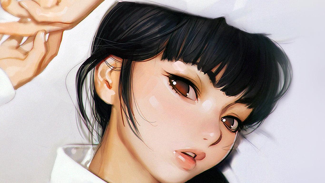 Wallpaper For Desktop Laptop Aw25 Ilya Kuvshinov Anime Girl Shy Cute Illustration Art White