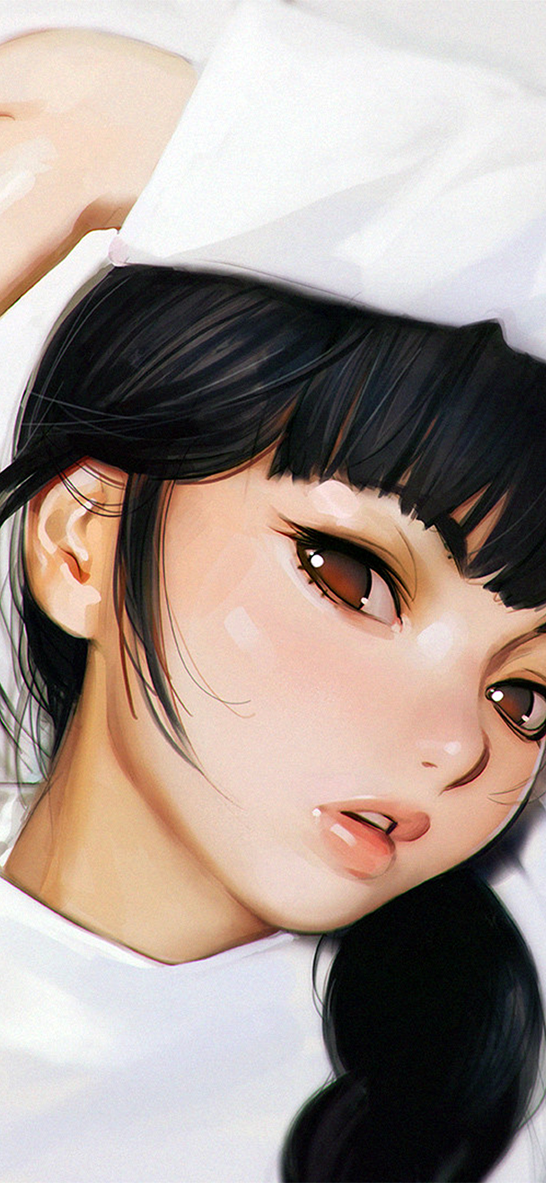 Papers Co Iphone Wallpaper Aw25 Ilya Kuvshinov Anime Girl Shy