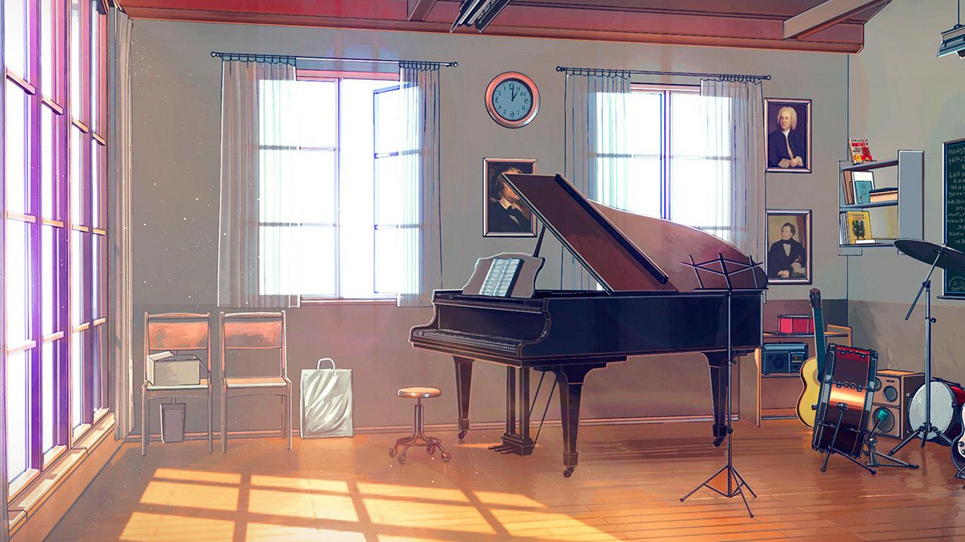 Wallpaper For Desktop Laptop Aw49 Arseniy Chebynkin Music Room Piano Illustration Art Blue