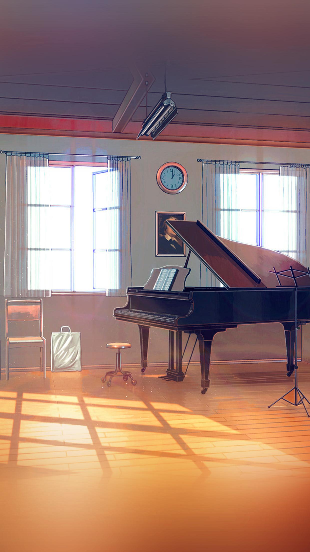 Aw49 Arseniy Chebynkin Music Room Piano Illustration Art Blue Wallpaper