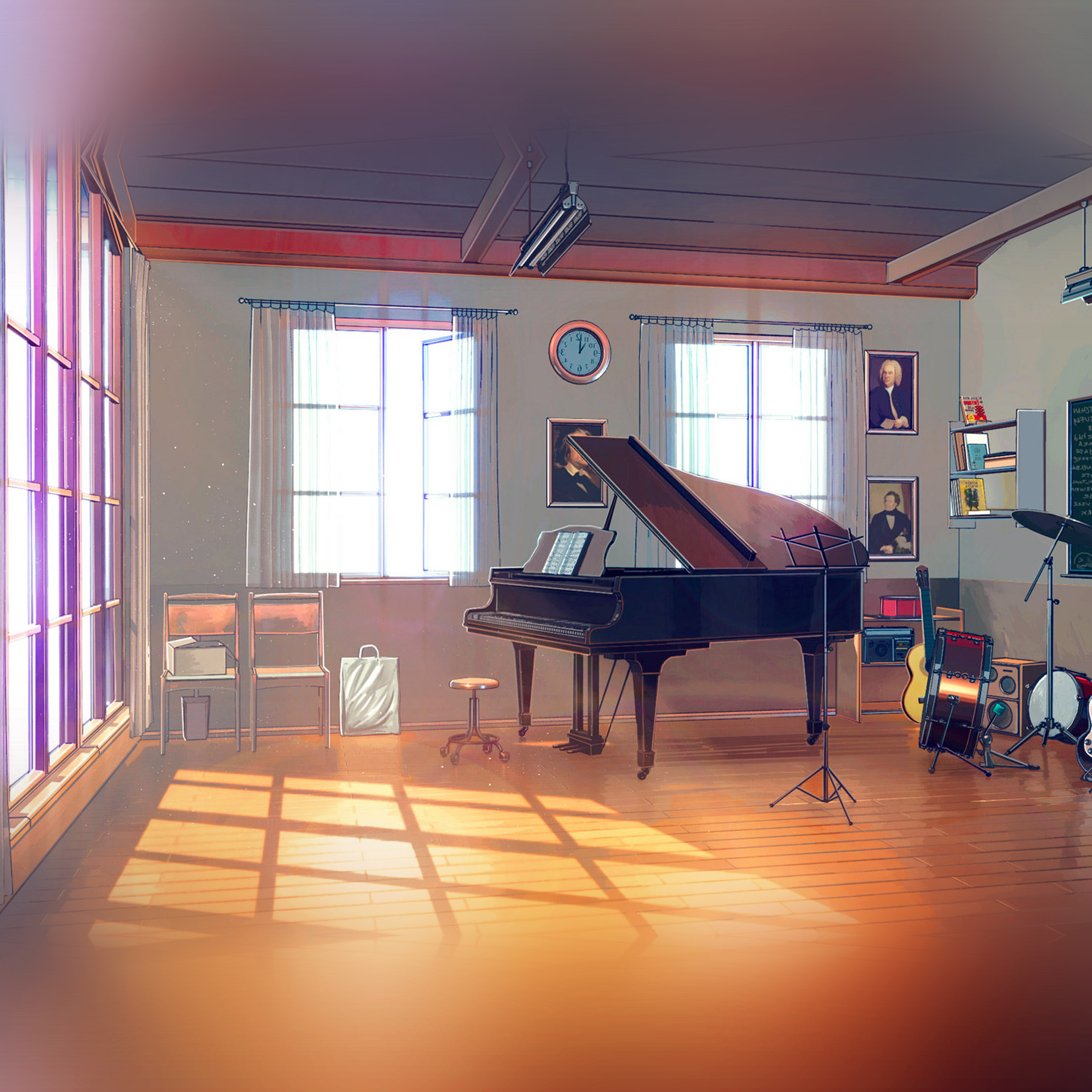 Aw49 Arseniy Chebynkin Music Room Piano Illustration Art Blue Wallpaper