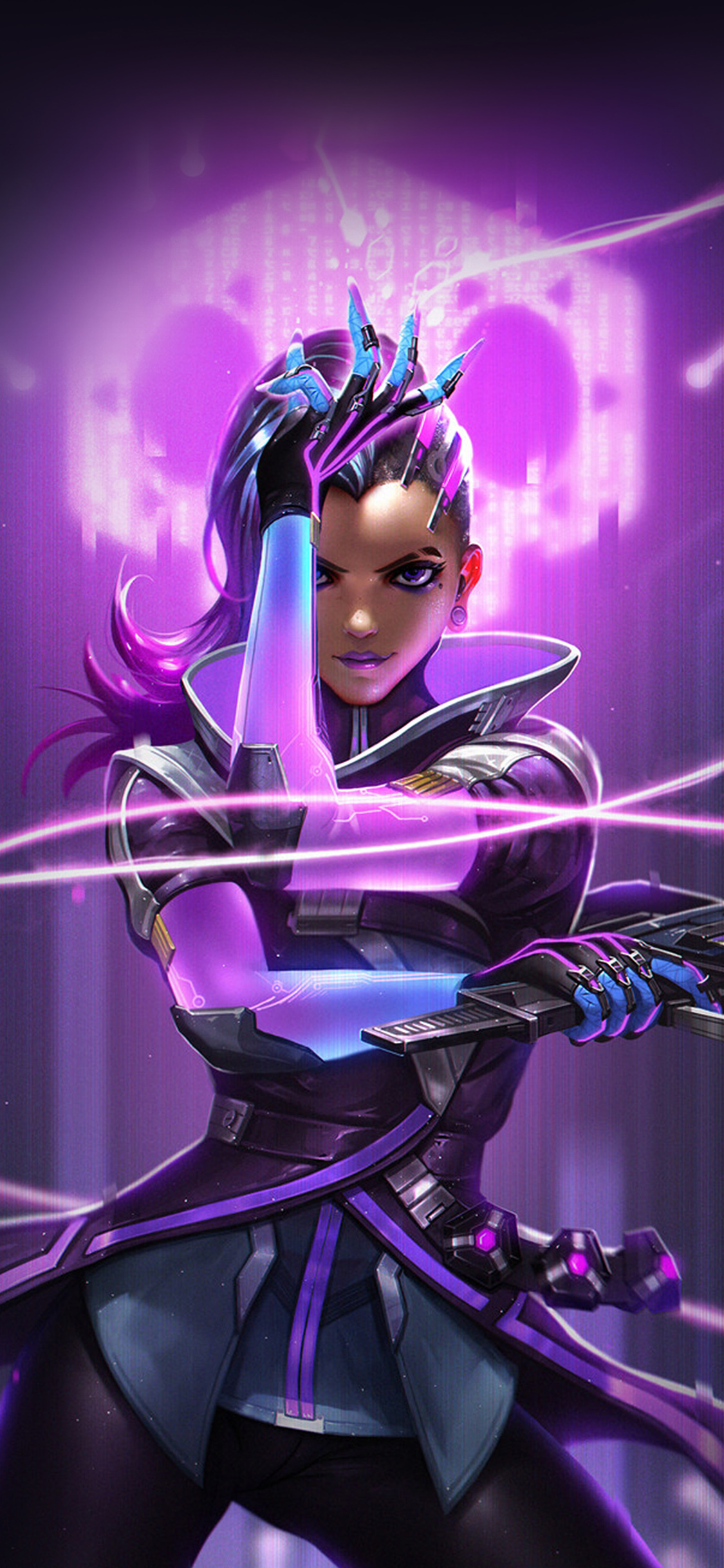 iPhoneXpapers.com-Apple-iPhone-wallpaper-aw56-liang-xing-overwatch-sombra-purple-game-hero-illustration-art