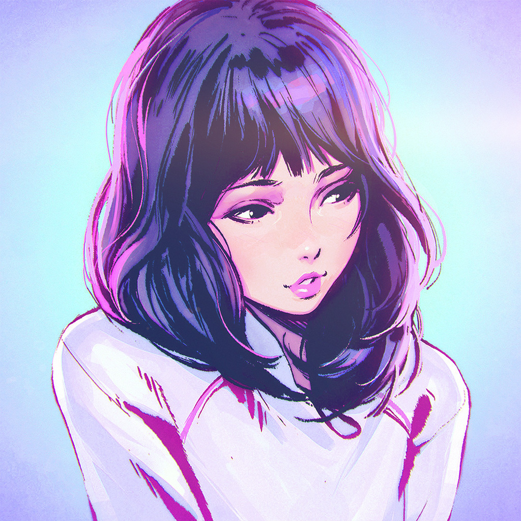 Aw58 Ilya Kuvshinov Girl Blue Face Illustration Art Wallpaper