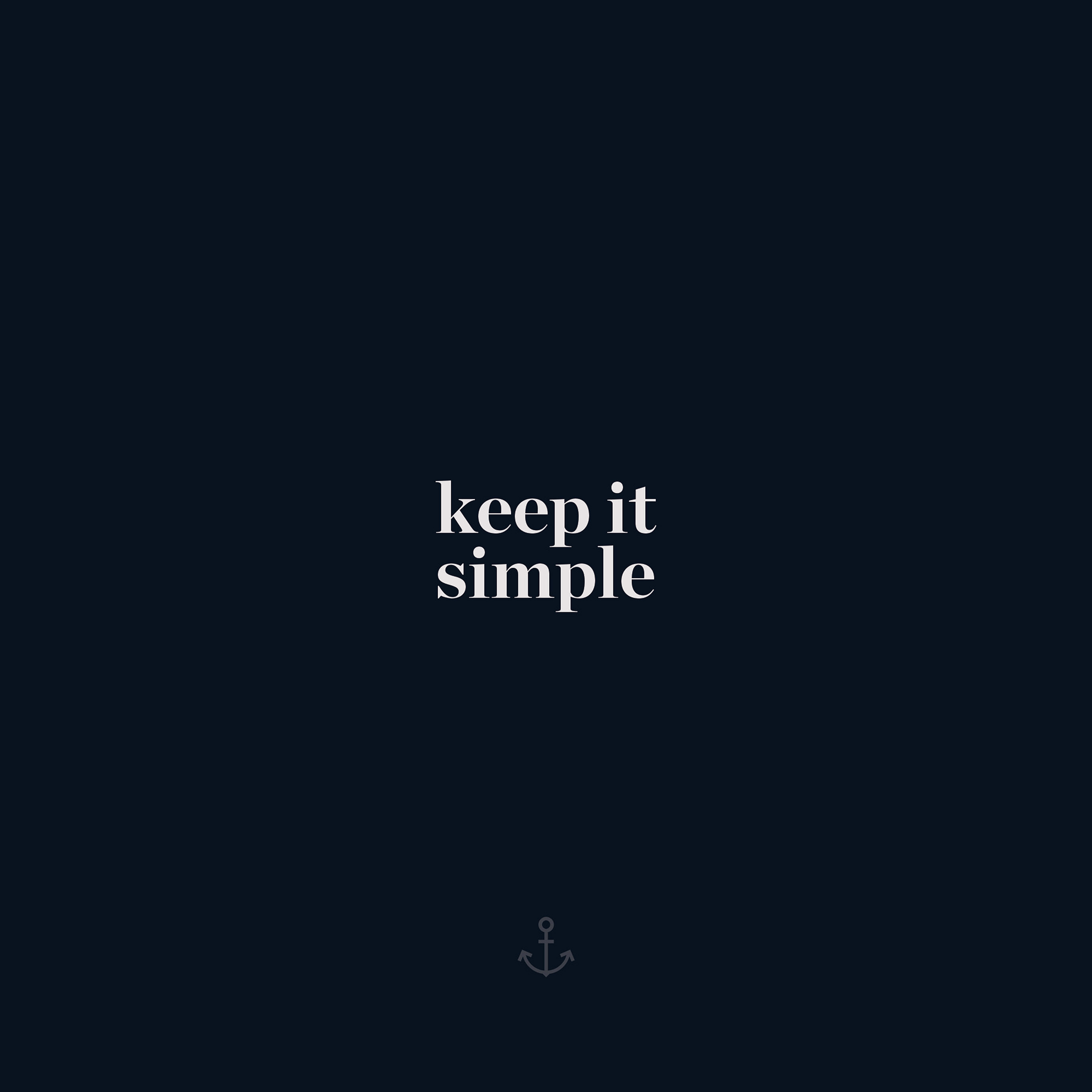 Aw76 Keep It Simple Word Quote Dark Blue Illustration Art Wallpaper