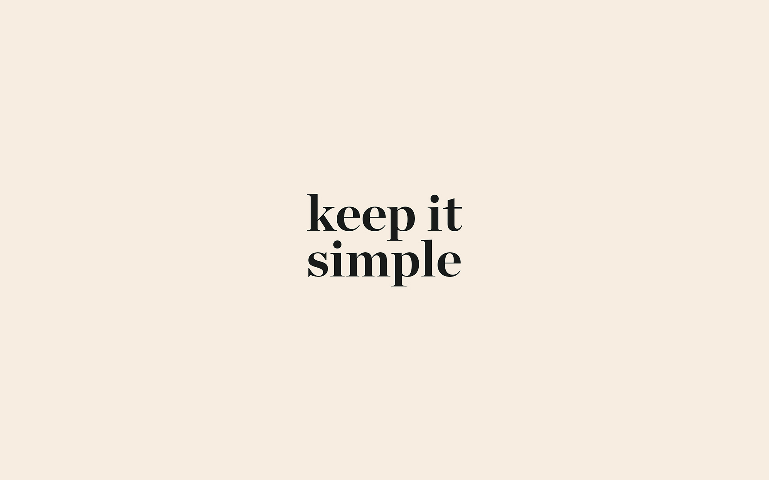 Aw77 Keep It Simple Word Quote Beige Illustration Art Wallpaper