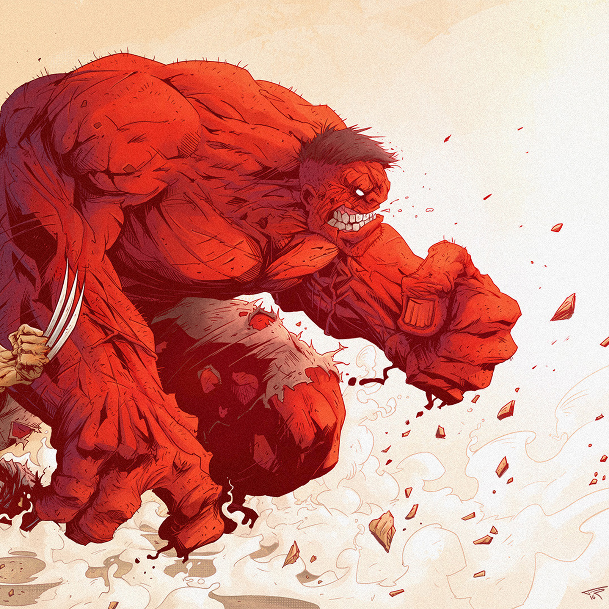 Art Illustration: Aw95-hulk-anime-tonton-revolver-illustration-art-red-hero