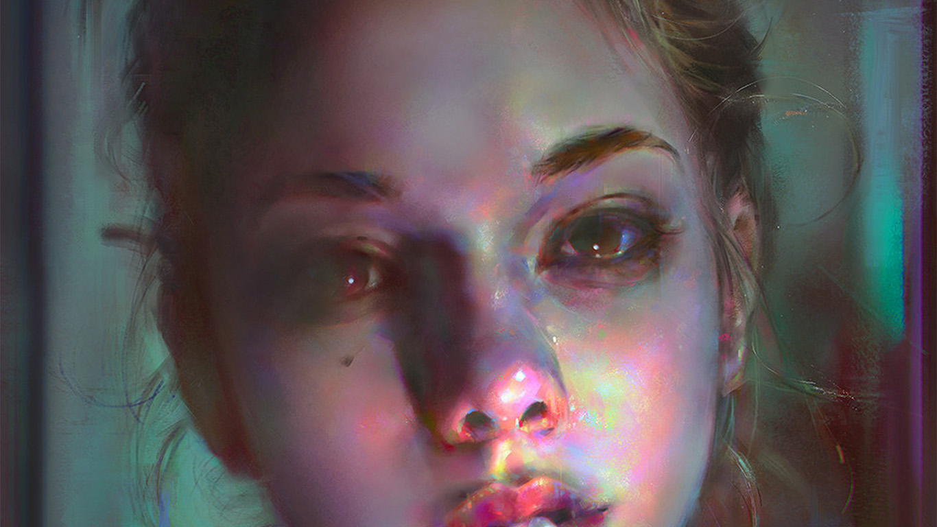 desktop-wallpaper-laptop-mac-macbook-air-aw96-yanjun-cheng-paint-face-girl-illustration-art-dark-wallpaper