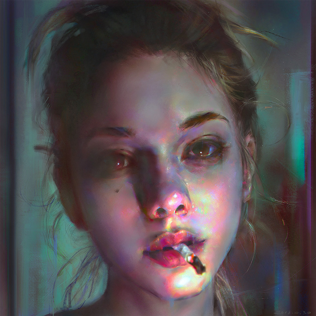 wallpaper-aw96-yanjun-cheng-paint-face-girl-illustration-art-dark-wallpaper