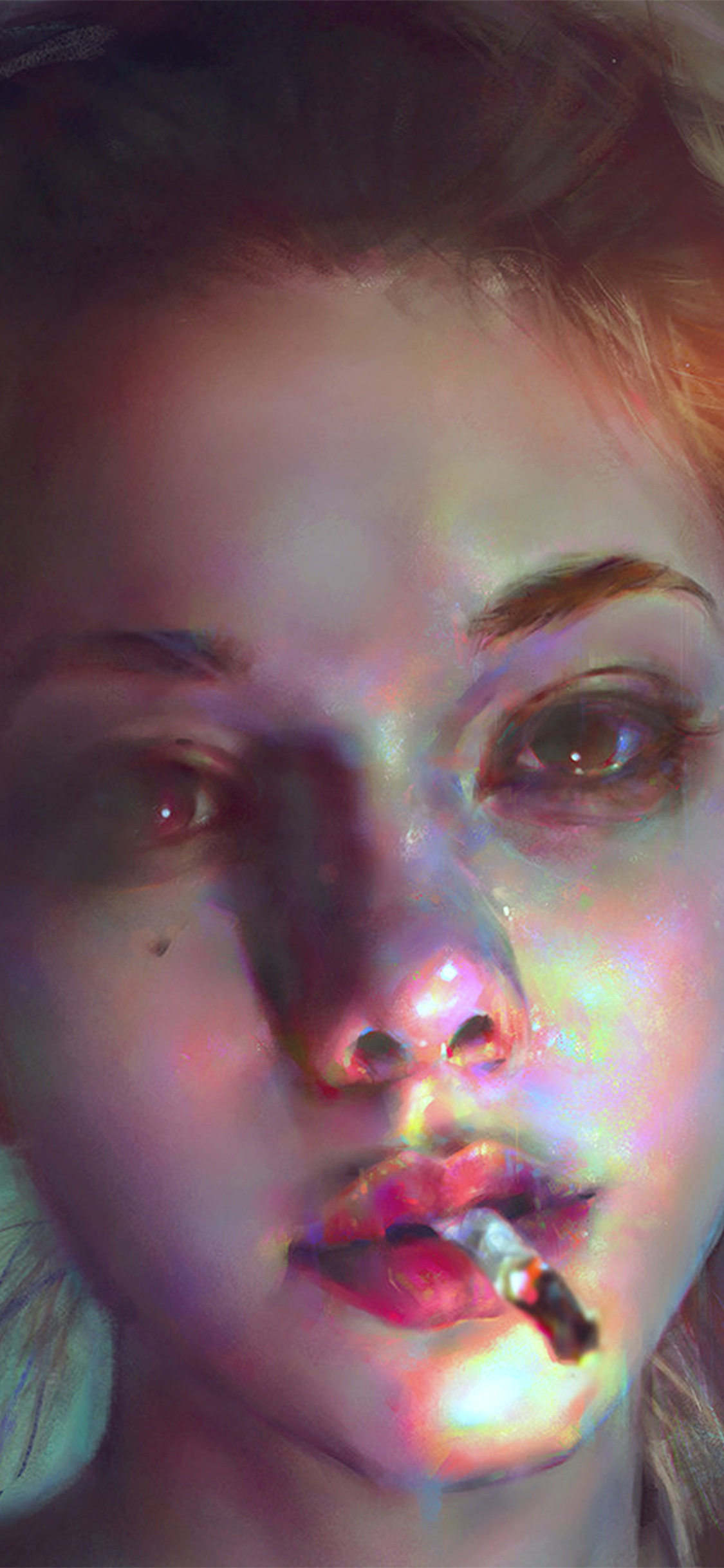 iPhonexpapers.com-Apple-iPhone-wallpaper-aw97-yanjun-cheng-paint-face-girl-illustration-art-dark-flare