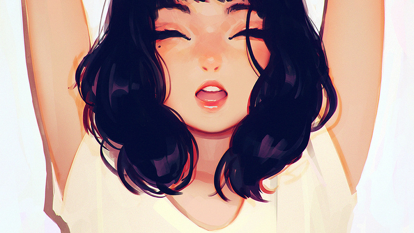desktop-wallpaper-laptop-mac-macbook-air-ax05-girl-smile-ilya-kuvshinov-illustration-art-yawn-wallpaper