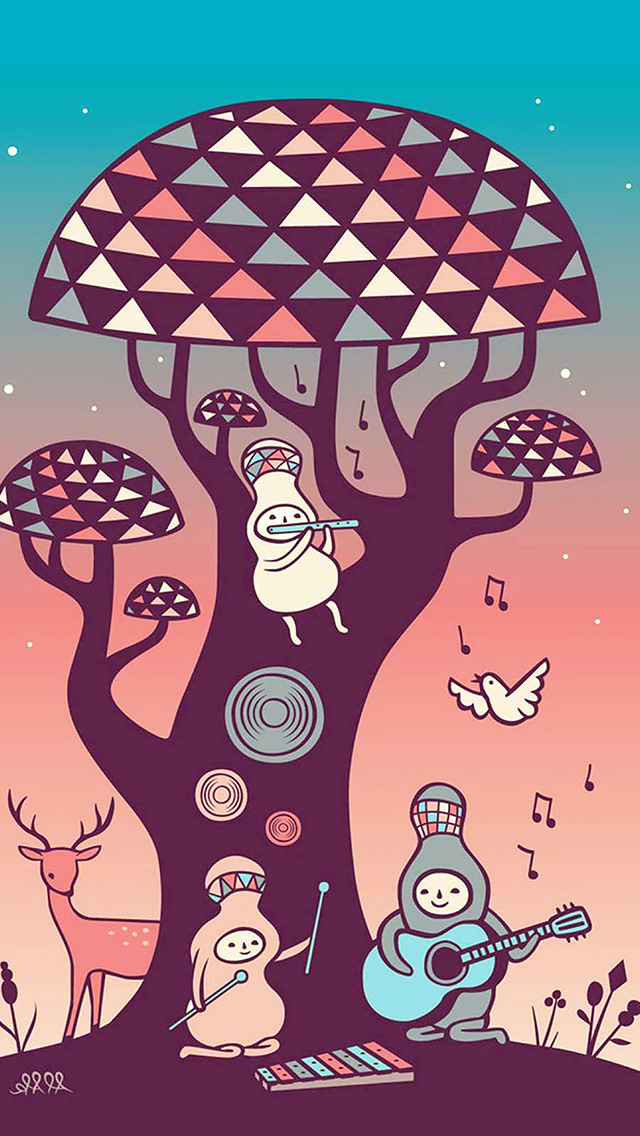 freeios8.com-iphone-4-5-6-plus-ipad-ios8-ax18-cute-music-characters-illustration-art-red