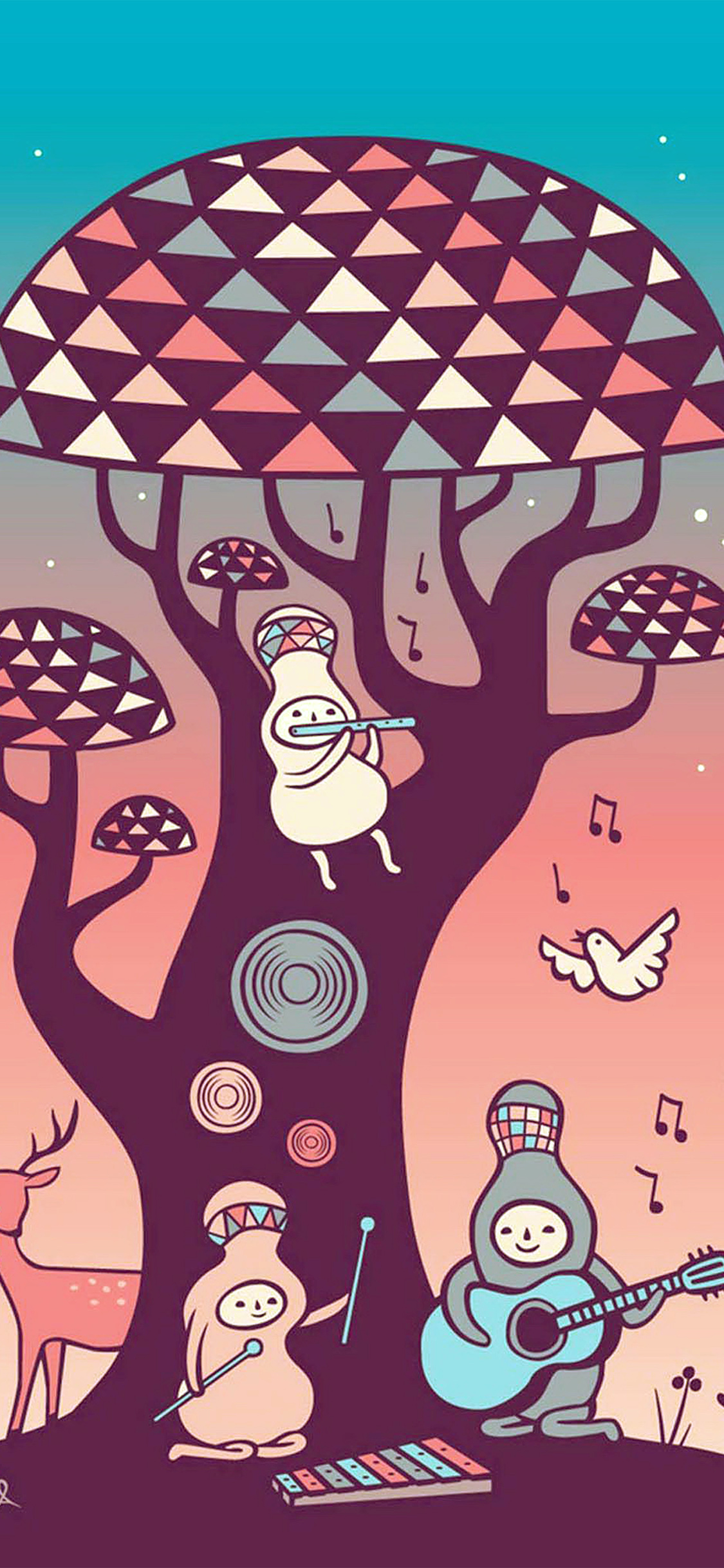 iPhonexpapers.com-Apple-iPhone-wallpaper-ax18-cute-music-characters-illustration-art-red
