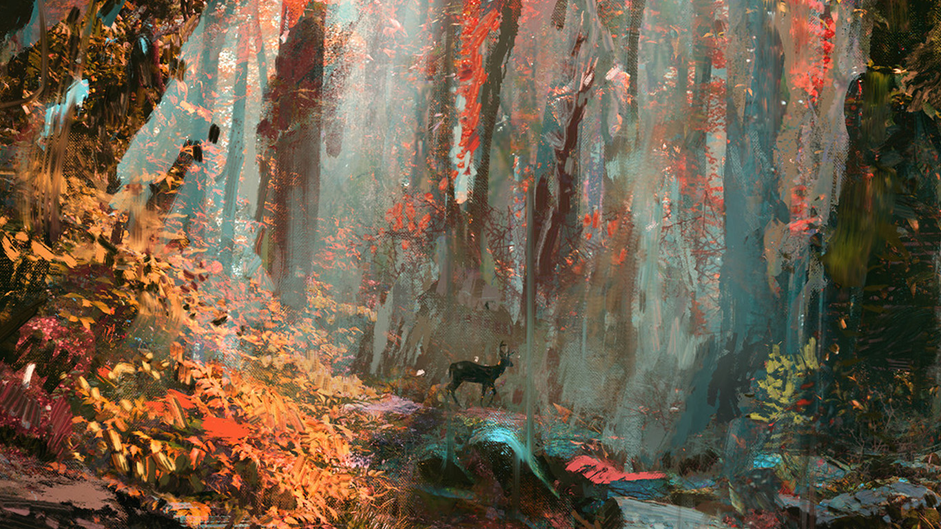 desktop-wallpaper-laptop-mac-macbook-air-ax52-rain-deer-forest-illustration-art-wadim-kashin-wallpaper