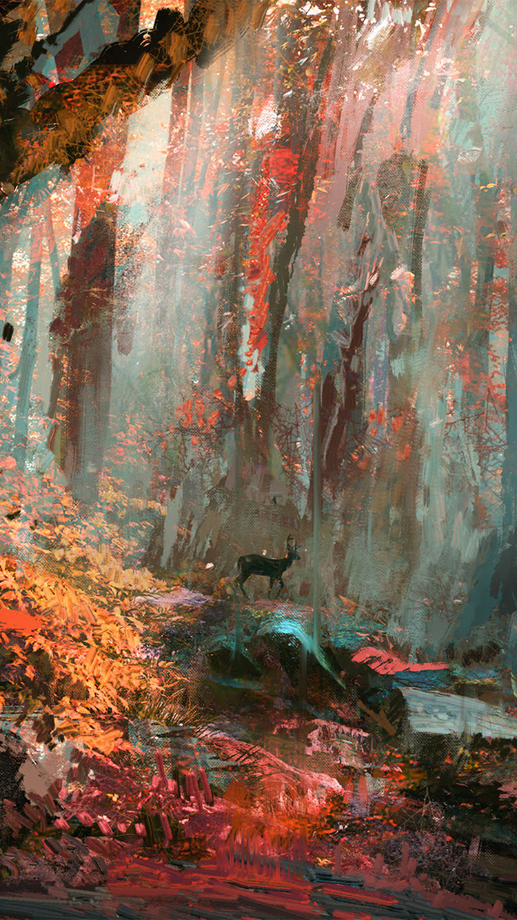 iPhone7papers.com-Apple-iPhone7-iphone7plus-wallpaper-ax52-rain-deer-forest-illustration-art-wadim-kashin