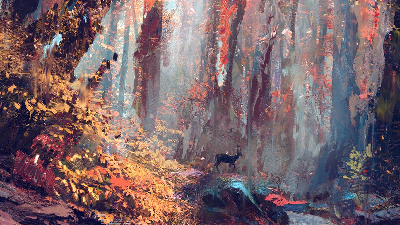 desktop-wallpaper-laptop-mac-macbook-air-ax53-rain-deer-forest-illustration-art-wadim-kashin-blue-wallpaper